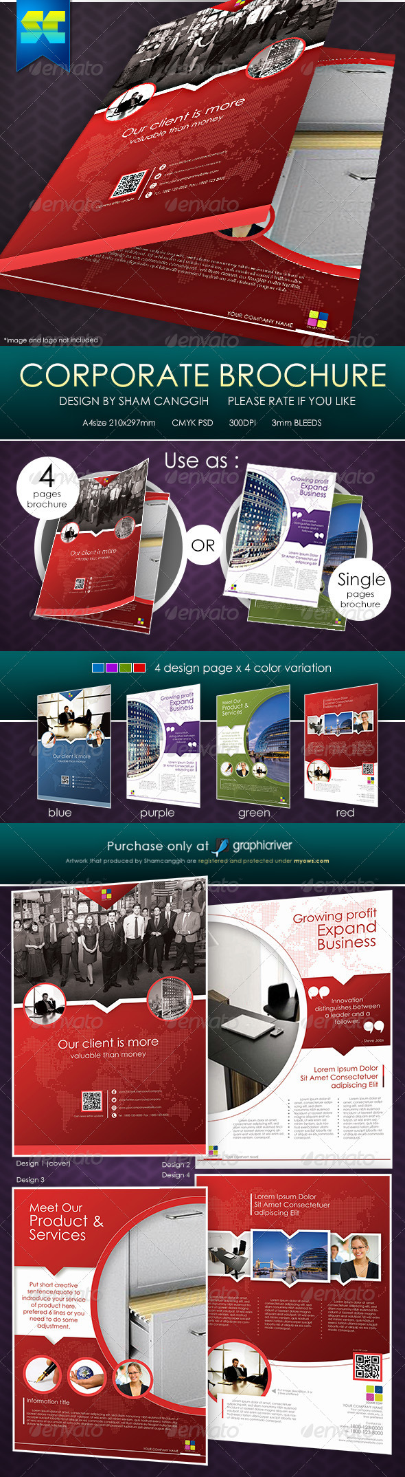 Clean & Modern 4 Pages Corporate Brochure - Corporate Brochures