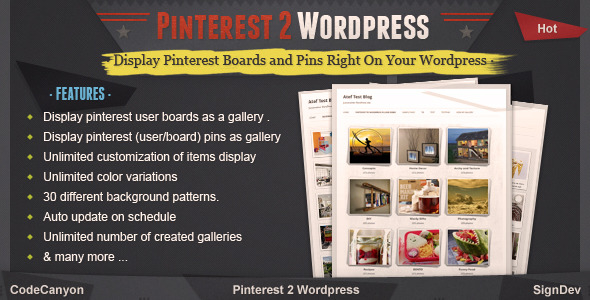 Pinterest to WordPress - WordPress Pinterest Gallery Plugin - CodeCanyon Item for Sale