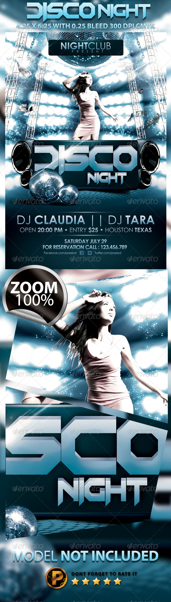 Disco Night Party Flyer Template - Clubs & Parties Events