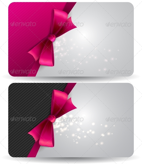 holiday gift card with pink ribbons and bow by marigold 88