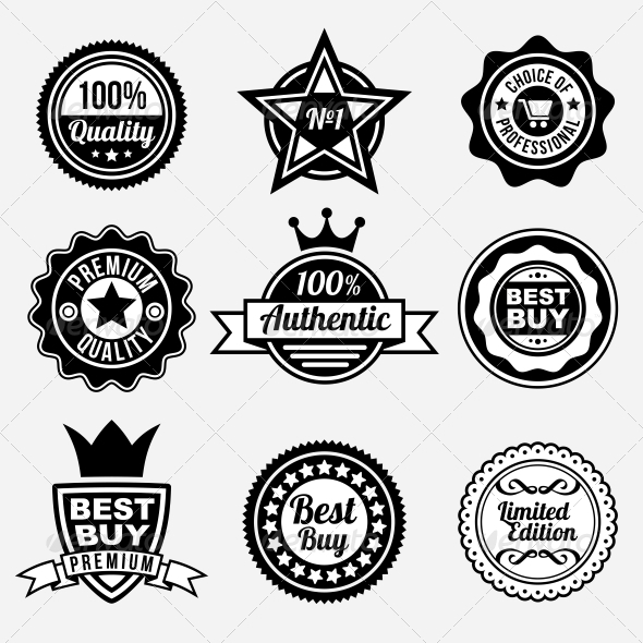 Set of premium quality labels and stickers retail commercial shopping
