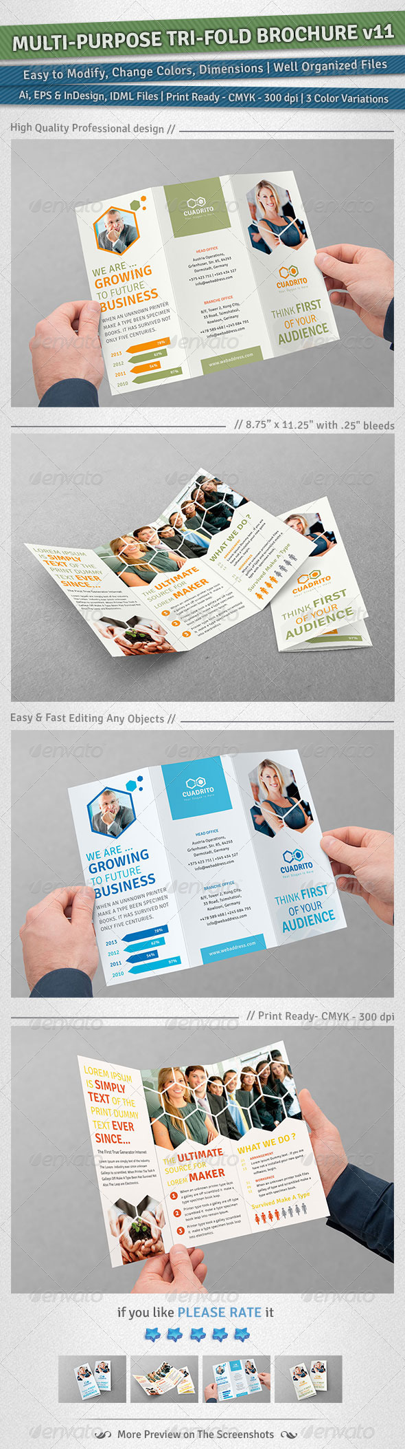 Multi-purpose Tri-Fold Brochure | Volume 11 - Corporate Brochures