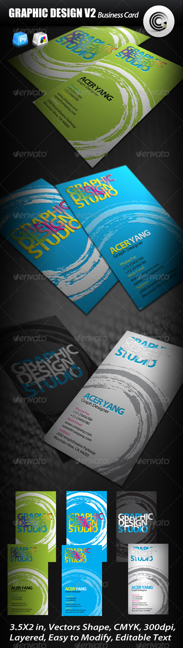Graphic Design Studio Business Card - Creative Business Cards