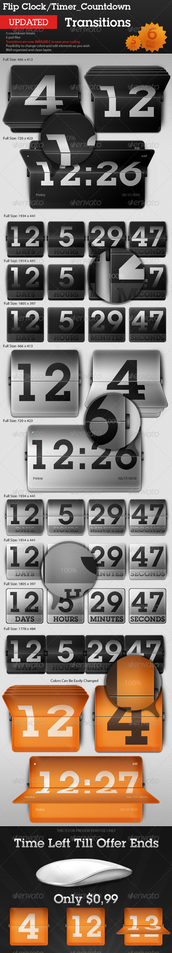 Flip Clock / Countdown Timer - Transitions - Miscellaneous Web Elements