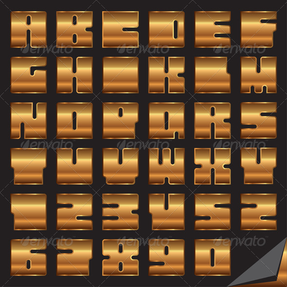 Gold Vector Font - Characters Vectors