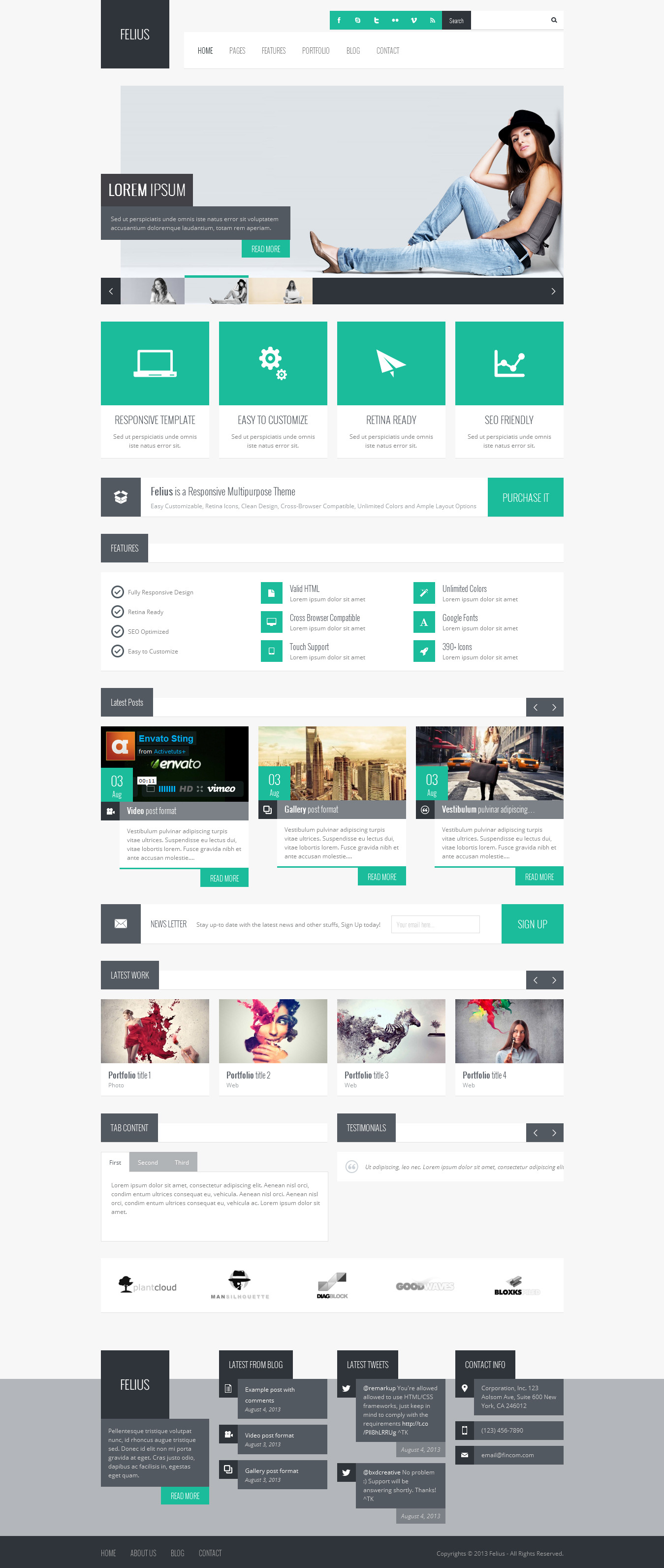Felius Responsive Multipurpose Wordpress Theme By Iwebstudio