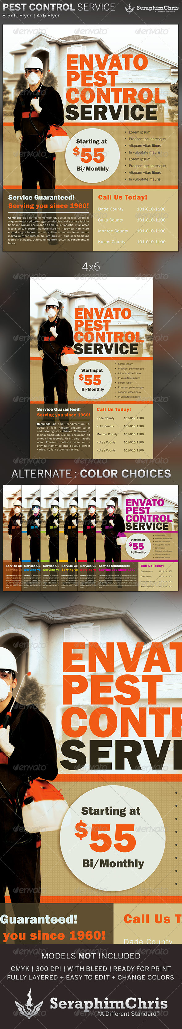 Pest Control Service Flyer Template by SeraphimChris | GraphicRiver