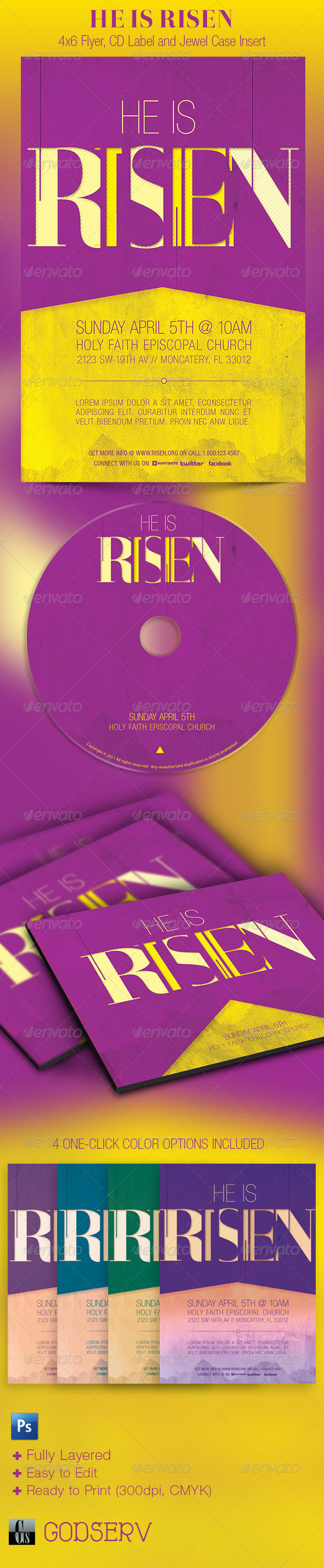 Risen Flyer CD Template - Church Flyers