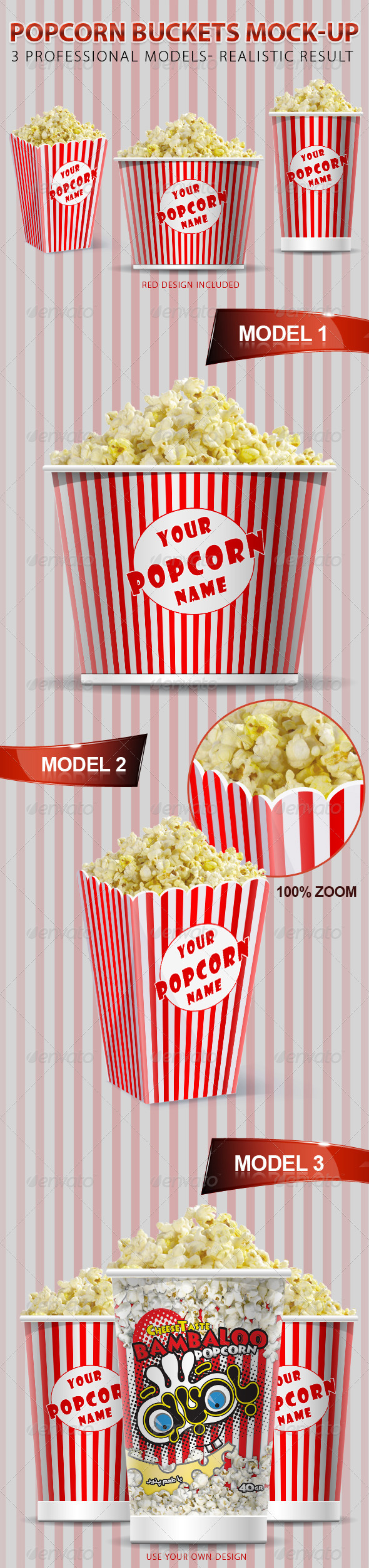 Popcorn Buckets Mock-up - Food and Drink Packaging