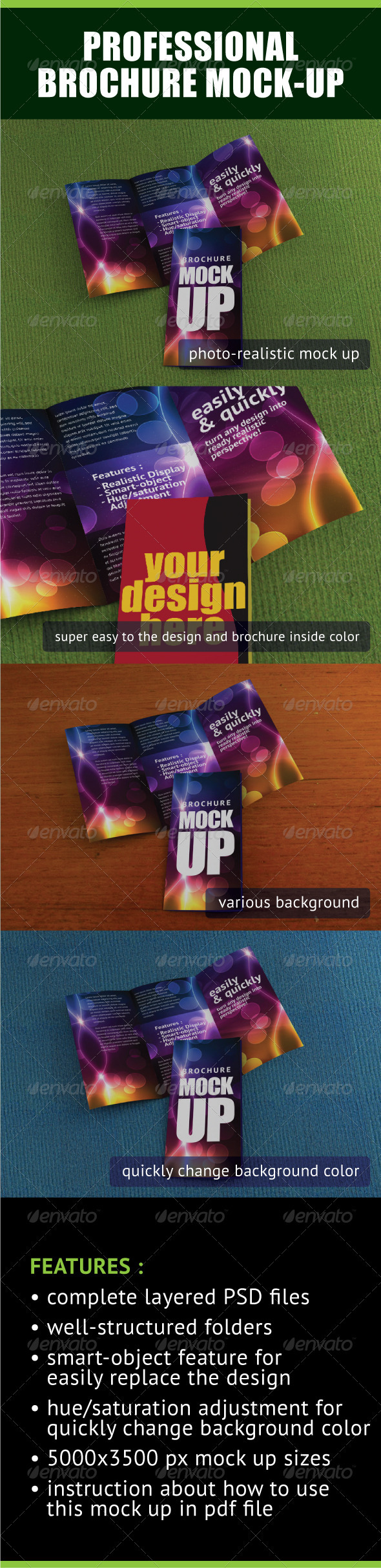 Professional Trifold Brochure Mock-Up - Brochures Print