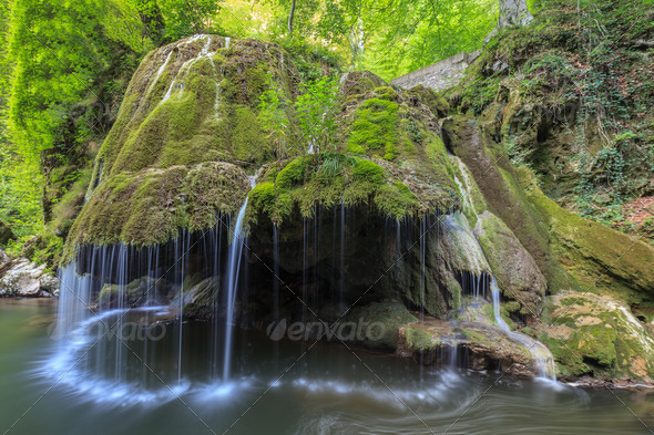 Bigar Cascade Falls in Nera Beusnita Gorges National Park, Romania. - Stock Photo - Images