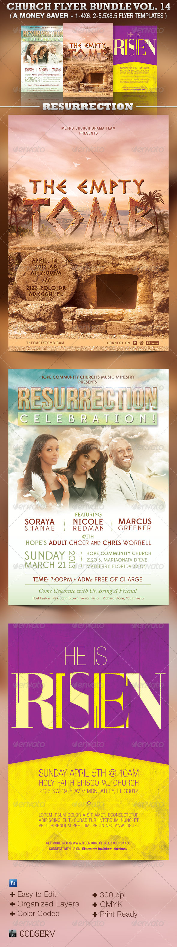 Resurrection Church Flyer Template Bundle Vol 14 - Church Flyers