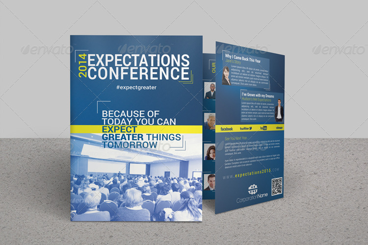 Expectations Conference Bifold Brochure By FakerJack GraphicRiver - Conference brochure template