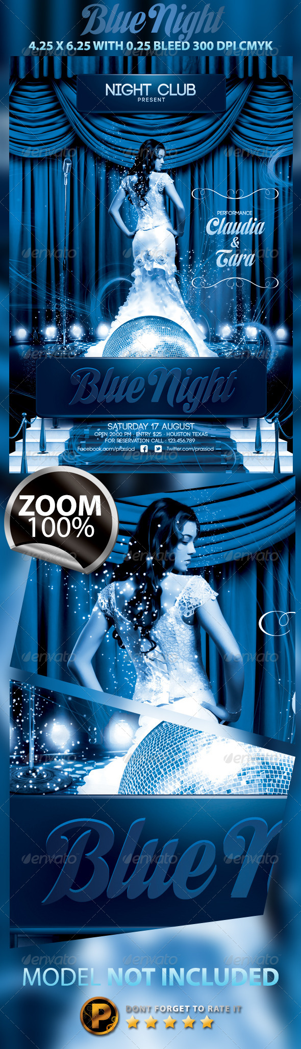 Blue Night Flyer Template - Clubs & Parties Events
