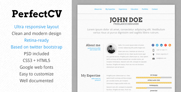 PerfectCV – Responsive, Bootstrap CV / Resume