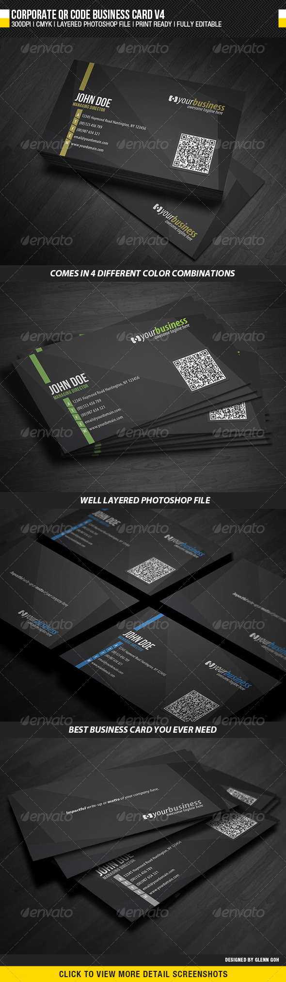 Corporate QR Code Business Card V4 - Corporate Business Cards