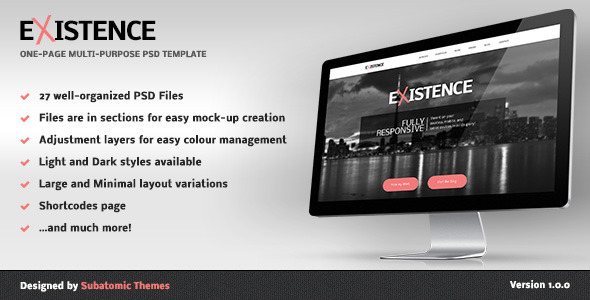 Existence – One-Page Multi-Purpose PSD Template