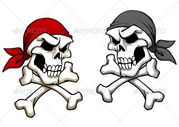 Danger Pirate Skull - Tattoos Vectors