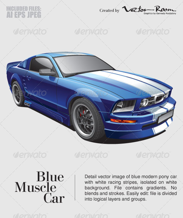 Blue Muscle Car - Vectors