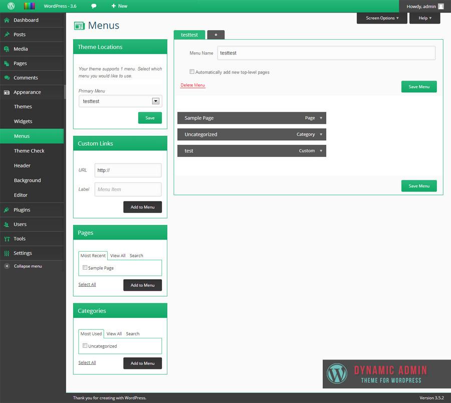 how to create dynamic menu in wordpress theme