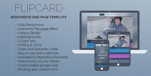 FlipCard – Responsive One-page Template