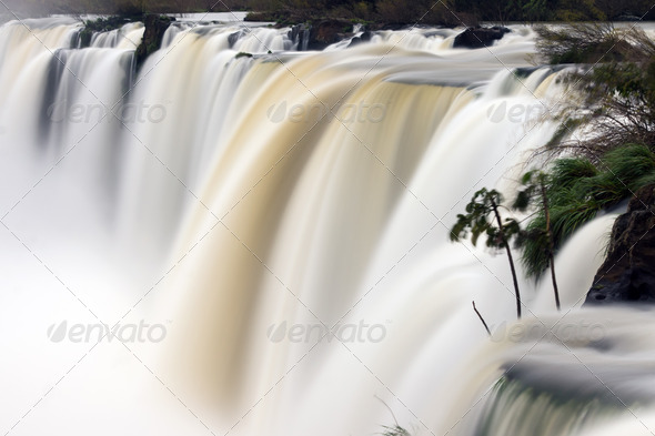 Waterfall with blurred motion - Stock Photo - Images