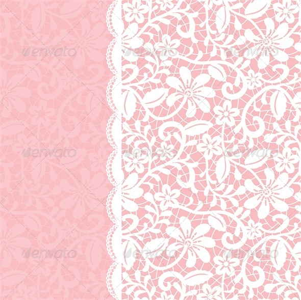 Wedding Invitation Or Greeting Card With Lace