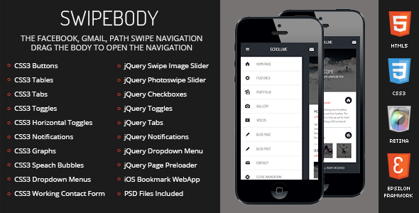 Swipebody Mobile | Mobile Template - Mobile Site Templates