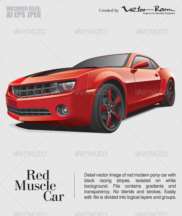 Red Muscle Car - Vectors