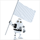 Robot with waving blank mockup flag - GraphicRiver Item for Sale