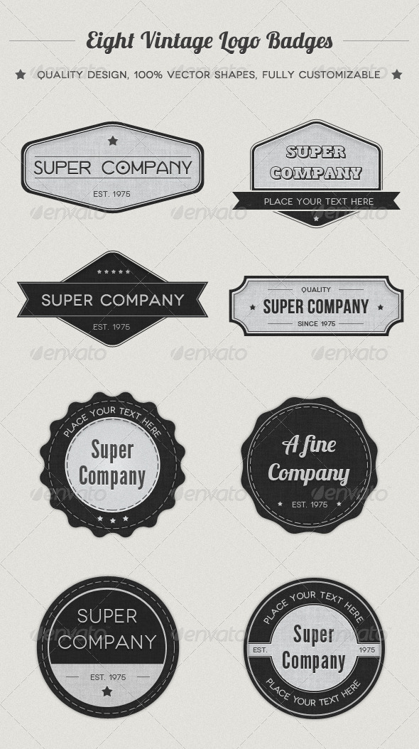 Vintage Logo Badges - Badges & Stickers Web Elements