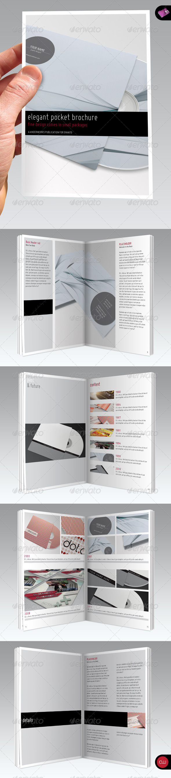 Elegant Series • A6 Pocket Brochure Template - Print Templates