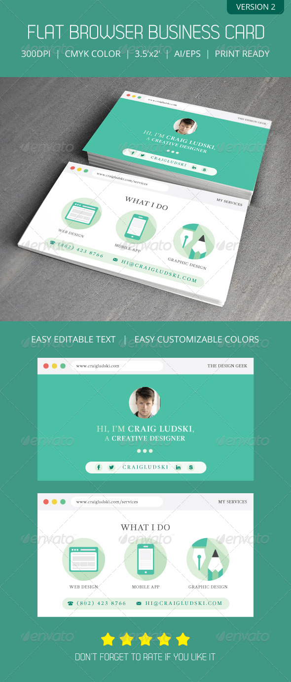 Flat Web Browser Business Card Version 2 by Artalic | GraphicRiver