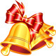 Gold Jingle Bells with Red Bow - GraphicRiver Item for Sale
