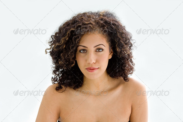 Face of young brunette - Stock Photo - Images