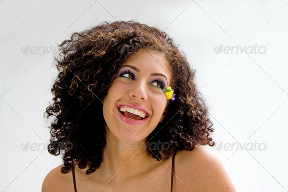 Brunette with flower makeup - Stock Photo - Images