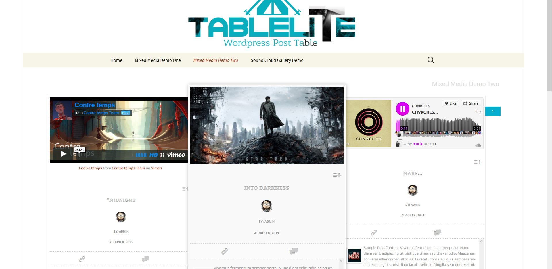 TableLite Wordpress Post Media Gallery