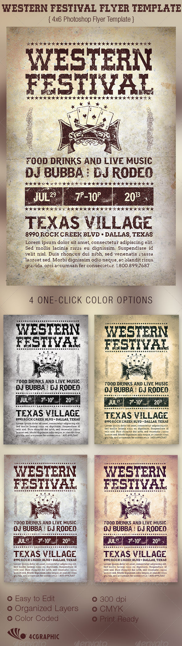 Western Festival Flyer Template - Events Flyers