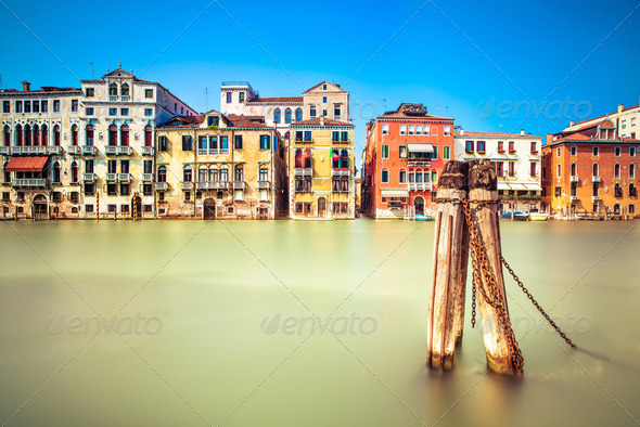 Venice cityscape, water grand canal and traditional buildings. Italy. - Stock Photo - Images