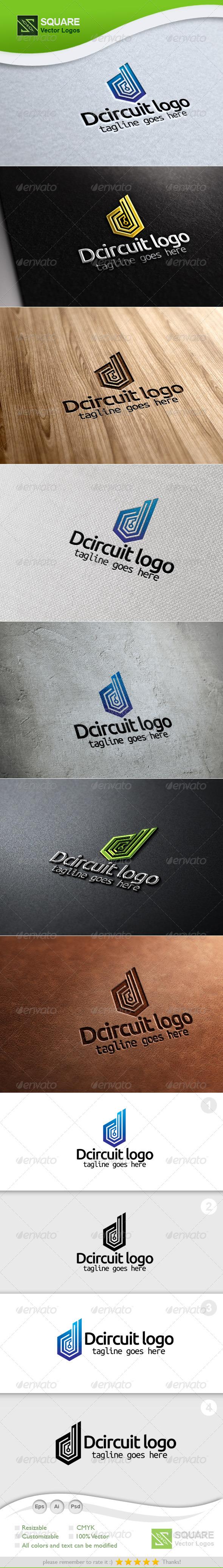 D, Circuit Vector Logo Template - Letters Logo Templates