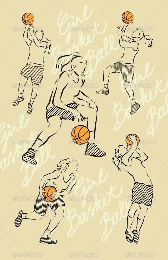 Girl Basket Ball Sketches - Sports/Activity Conceptual