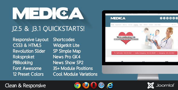 Medica – Clean, Responsive, Medical Joomla Theme