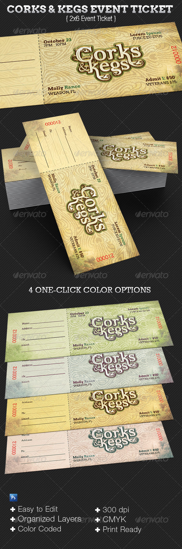 Corks And Kegs Ticket Template - Events Flyers