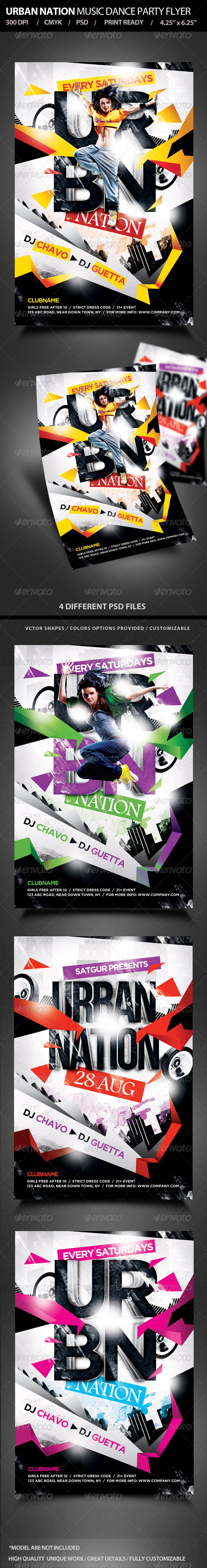 Urban Nation Music Dance Party Flyer - Flyers Print Templates