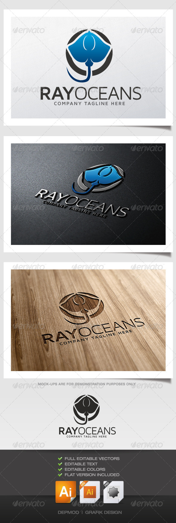 Ray Oceans Logo - Animals Logo Templates