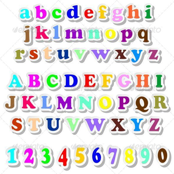 Alphabet And Numbers Colorful Stickers By Bluedarkat