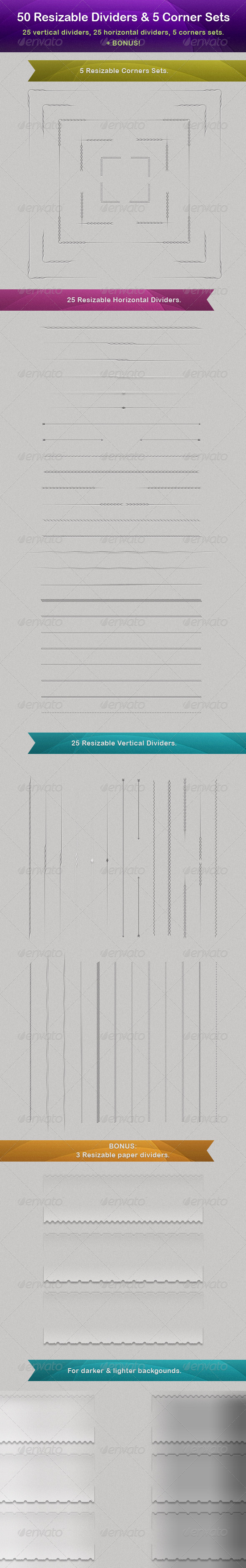 50 Vector Resizable Dividers + 5 Corner Sets - Miscellaneous Web Elements