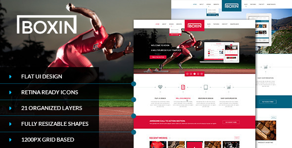 Boxin - Flat Creative PSD Template - Portfolio Creative