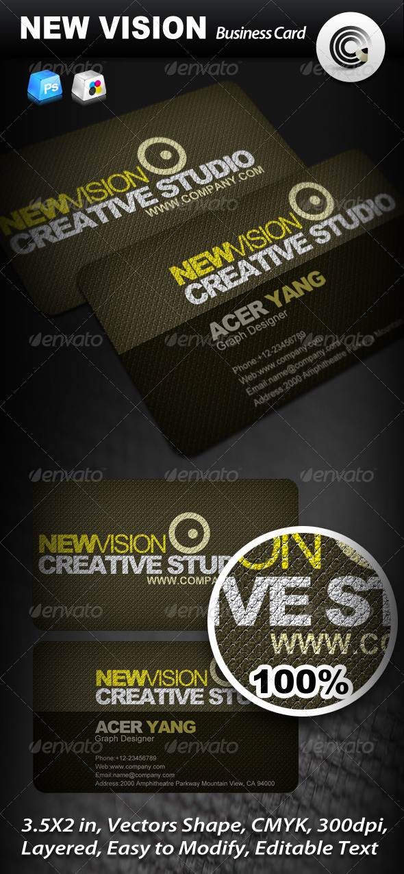 New Vision Creative Studio Business Card - Corporate Business Cards