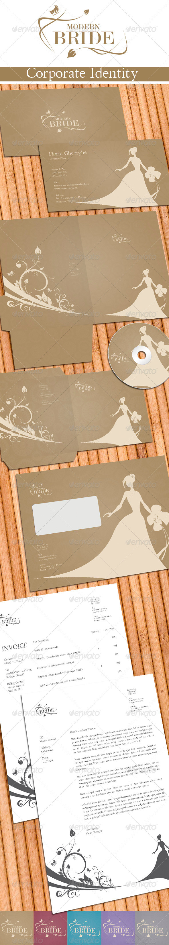 Modern Bride Corporate Identity - Stationery Print Templates